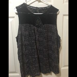 Maurices Lace and Rayon sleeveless blouse